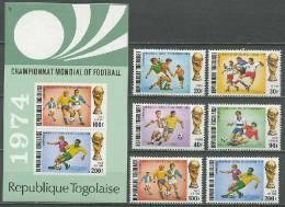 Togo 1974 Football Soccer World Cup Set Of 6 + S/s MNH - Coppa Del Mondo