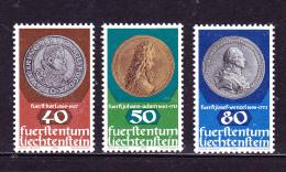 """LIECHTENSTEIN- Scott #   654-656 -Value $  1.80- """" Coins"""" - Liechtenstein"""