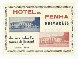 GUIMARÃES ♦ HOTEL DA PENHA ♦ PORTUGAL ♦ VINTAGE LUGGAGE LABEL ♦ 2 SCANS - Etiquetas De Hotel