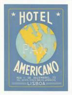LISBOA ♦ HOTEL AMERICANO ♦ PORTUGAL ♦ VINTAGE LUGGAGE LABEL ♦ 2 SCANS - Hotel Labels