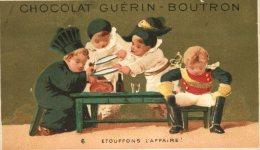 Chocolat Guérin Boutron, Jolie Chromo Lith. Vallet Minot, Thème Vol D'un Jambon, Gendarmes, étouffons L'affaire - Guerin Boutron