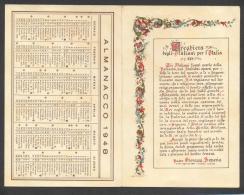 4526-CALENDARIETTO-PRO ORFANI DI GUERRA-1948-FORMATO CARTOLINA-DOPPIA - Calendari