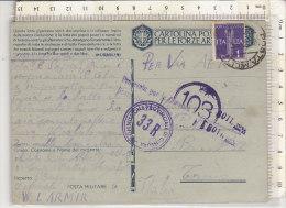 PO9911B# CARTOLINA POSTALE FORZE ARMATE - FRANCHIGIA MILITARE - AFFRANCATA 1£  VG 1942 - Storia Postale