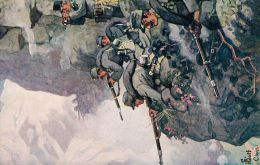 Gustav Adolf Closs. Tiroler Jäger Im Schützengefecht Mit Italienern An Einer Felswand - Illustrateurs & Photographes