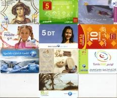 *TUNISIA* -  Lotto Di 10 Schede Usate Differenti - Tunisia