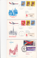 SWISSAIR>>  8 First Flight Covers - Airplanes
