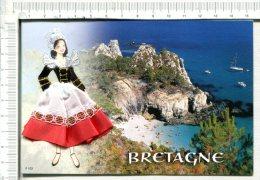 FOLKLORE De BRETAGNE -   Carte  BRODEE  -  Buste Brodé Et Jupe Tissu - Bretagne