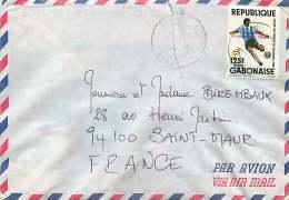 Lettre Avion Pour La France Coupe Du Monde De Football Surchargé: Demie-finale R.F. Allemagne 3 - France 3 - Gabon (1960-...)