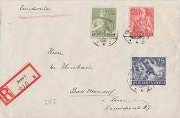 DR R-Brief Mif Minr.839,851,853 Jena 29.7.43 Gel. Nach Luxemburg - Deutschland