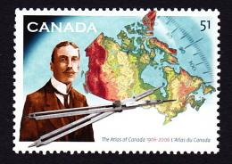 CANADA, 2006, # 2160,    ATLAS Of CANADA 100 ST ANNIV.  JAMES WHITE, DIVIDER & MAP DU CANADA,  GEOGRAPHY, MAPPE - 1952-.... Reinado De Elizabeth II