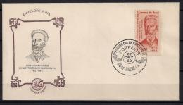 BRASIL 1962, YVERT 725 SOBRE PRIMER DIA, QUINTINO BOCAIUVA, PATRIARCA DE LA REPÚBLICA Y PERIODISTA - Cartas