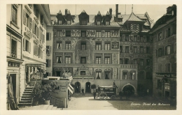 RPPC- SUISS LUZERN HOTEL DES BALANCES HOUSE-DRAWN CARRIAGE- FINELY APPOINETED V/F VINTAGE REAL PHOTO ORIGINAL POSTCARD - LU Lucerne