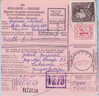 N°848A + 859 Op Internat. Postw, Afst. FLEURUS 16/12/1968 Via ZAGREB Naar CAKOVEC 25/12/1968 - Joegoslavie - 1936-1951 Poortman