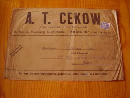 Enveloppe Pour Partitions De A.T. Cekow à Paris Avec Timbre Préoblitéré 8f  Coq - Musique