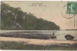 CPA 40 BISCARROSSE Etang Du Sud Barques Carte Colorisée - Biscarrosse