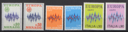 Monaco / Italy / San Marino 1972 Space Europa CEPT 6 Stamps MNH - Space