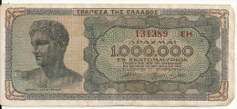GRECE 1 MILLION DRACHMAI 1944 VG P 127 - Greece
