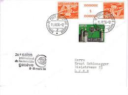 Schweiz 15.3.56  Brief Mit  Stempel - 26 Salon De Lautomobile - - Storia Postale