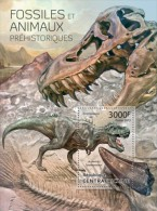 DELUXE IMPERF CENTRAL AFRICA 2013 DINOSAUR FOSSILS PREHISTORIC ANIMALS S/S MNH NEW - Stamps