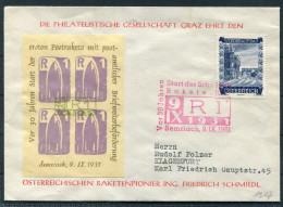 1961 Austria Osterreichischen Raketenpionier Space Friedrich Schmiedl Graz R1 Rocket Vignette Brief - 1961-70 Covers