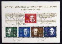 Germany - 1959 - Inauguration Of Beethoven Hall Miniature Sheet - Used - BRD