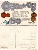 #0206 German Old Litho Embossed Postcard Unused: Greek Coins 1873 -1912, Flag - Munten (afbeeldingen)