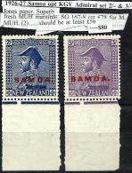 SAMOA O/P ON NEW ZEALAND KGV ADMIRAL SET OF 2/- & 3/- 1926-27 MUH CV56£ SG167-8 READ DESCRIPTION !! - Samoa