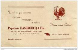 """* BUVARD PUBLICITAIRE:""""Papeterie HASBROUCQ Et Fils...101,103,105 Rue Nationale TOURCOING""""(19x12cm)"""