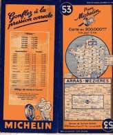 CARTE ROUTIERE - MICHELIN - ARRAS MEZIERES - N°53 - 1947 - Cartes Routières