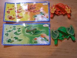 KINDER SURPRISE 2009 KINDER GAME - N°DE062 / DE063 - LANCEURS VERT ET ROUGE + BPZ - Kinder & Diddl
