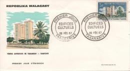MADAGASCAR Malagasy  431 FDC Premier Jour Temple Adventiste Tanambao Tamatave Eglise Religion - Madagascar (1960-...)