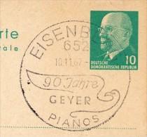 GEYER-PIANOS EISENBERG Thüringen 1967 Auf DDR P 75  Postkarte - Muziek