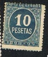 Impuesto De Guerra 10 Ptas. 1898-99 Nuevo Sin Char. Sin Goma - Impuestos De Guerra