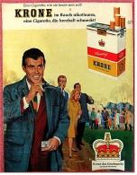 Reklame Werbeanzeige  ,  KRONE Cigaretten  ,  Eine Cigarette, Die Herzhaft Schmeckt !  -  Von 1965 - Ohne Zuordnung