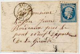 SAINTES  (17) Devant De Lettre - PC 2753 Sur Yvert 14Af (Indice 2) (57282) - Postmark Collection (Covers)