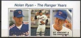 Saint-Vincent & Grenadines 1995 2496 + 2505/12 ** Retraite De Nolan Ryan - Joueur De Base-ball - St.Vincent (1979-...)
