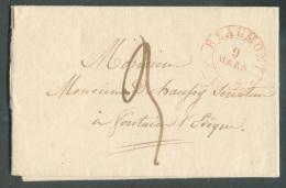 LAC De BEAUMONT Le 9 Mars 1837 (càd Perlé En Rouge) Vers Fontaine-l'Evêque; Port De 3 Décimes.  TB  - 8910 - 1830-1849 (Belgique Indépendante)