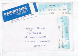 SFS/Meter: France 1996 Brionne Meter X2 Used On Cover To Lithuania (G21-40) - ATM - Frama (labels)