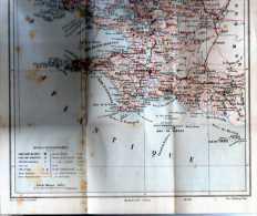 Carte Du Finistere, Petit Livret Depliant Par Adolphe Joanne - Mapas