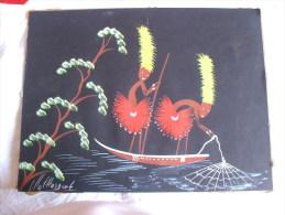 Aquarelle Année 30 Scene De Péche Art Naif Signé: MALTTOSDORE - Art Africain