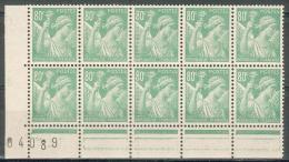 France - 1938/42 - Type Iris - Superbe Bloc De 10 Valeurs Avec CdF Numéroté  - 80 C. Vert - Y&T N°649 ** Neuf Luxe - France