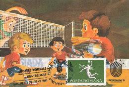 D12863 CARTE MAXIMUM CARD 1981 ROMANIA - VOLLEYBALL UNIVERSIADE 1981 CP ORIGINAL - Volleyball