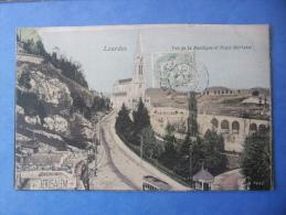 65-LOURDES Vue De La Basilique Et Place Merlasse , Tram , Circulée En 1906 - Lourdes