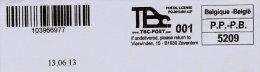 TBC-POST.COM + Datumstempel 13-06-2013 (nieuw Type Met Vermelding PO-2013 : Postlicentie) Op Volledige Omslag - Frankeervignetten