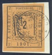 Pietersburg 1901. 2d Black/orange, Imperf. SG 7var. - Transvaal (1870-1909)