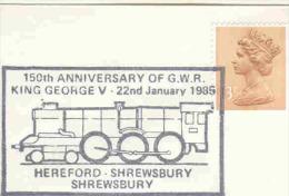 Great Britain - 150th Anniversary Of GWR King George V - Hereford Shrewsbury  22/1/1985 (RM1349) - Trenes
