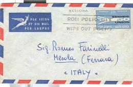 TARGHETTA POLIO, SU LETTERA  SOUTH AFRICA / MESOLA FERRARA, VIAGGIATA   1961, TIMBRO POSTE MESOLA FERRARA - Medicine