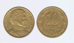 CHILE -  10 Pesos 1998  KM228 - LIBERTADOR. B. O'HIGGINS  - - Chile
