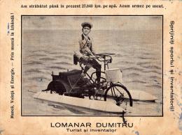 GLOBE TROTTER Sur BICYCLETTE / HYDROBICYCLETTE / VÉLO D' EAU De ROUMANIE - TOUR DU MONDE ~ 1910 - 1920 (o-239) - Cycling