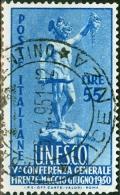 ITALIA, ITALY, ITALIE, REPUBBLICA, UNESCO, 1950, FRANCOBOLLO USATO, Scott 534, YT 557, Un 619 - 6. 1946-.. Repubblica